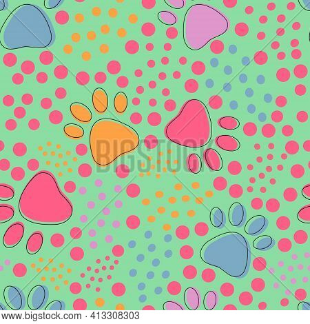 Seamless Pattern With Colorful Pets Paws And Bright Dots On Light Green Background. Cat Or Dog Footp