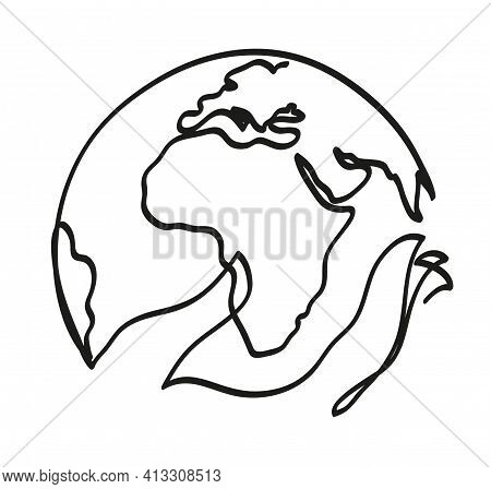 One Line Drawing Of Woman Hands Holding Earth Globe. One Continuous Line Drawing Of 'save The World'