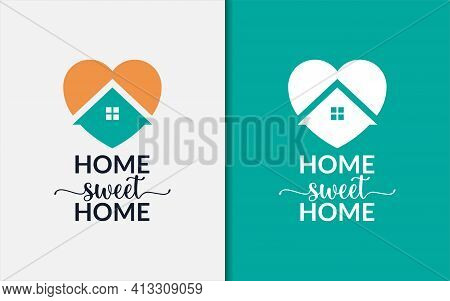 Creative Home Sweet Home Graphic Design Template. Love Symbol With People Silhouette Inside. Vector