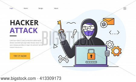 Phishing Scam, Hacker Attack And Web Security Abstract Vector Concept. Flat Outlined Cartoon Illustr