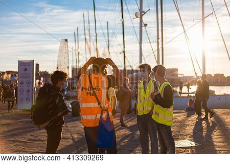 Trieste, Italy - October, 08: The Team Of Service Guys During The 52° Barcolana Regatta In Trieste S