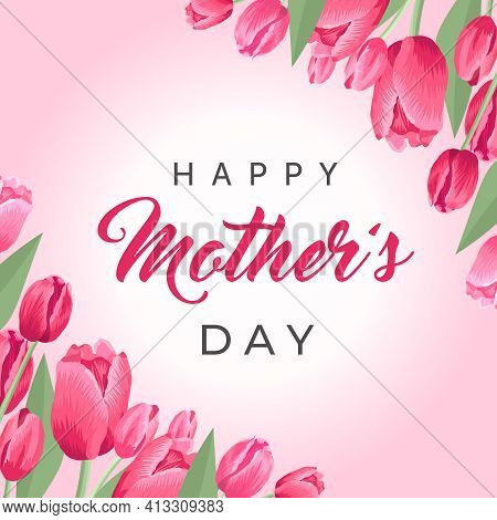 Happy Mothers Day Square Banner. Vector Greeting Card For Social Media, Online Stores, Poster. Text