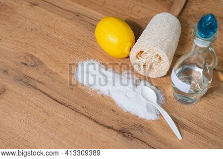 Cotton Flowerlemon, Luffa, Soap And Baking Soda For House Keeping. Ecological Life, Eco Friendly Lif