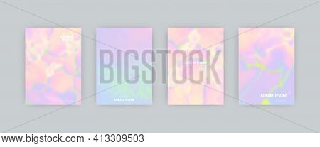 Set Of Vector Cover Templates. Iridescent Light Colors Splash Hand Painted Blurred Background. For F