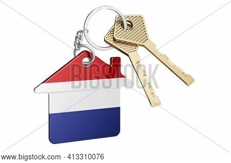 Real Estate In The Netherlands. Home Keychain With The Netherlands Flag. Property, Rent Or Mortgage