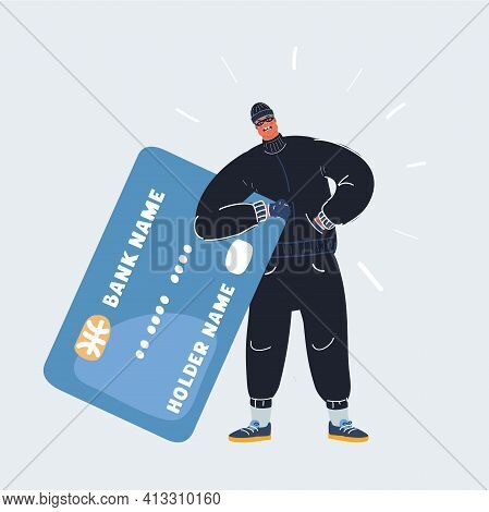 Vector Illustration Of Robber Man Stole Credit Card. Stealing Money Online. Isolated On White Vector