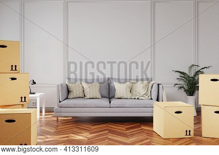 Minimalistic Elegant Living Room Interior With Stacks Of Moving Boxes And Vintage Sofa In Front Of W