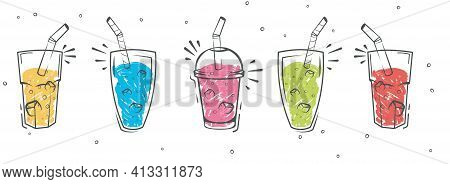 Smoothie In Glass Bottle With Straws. Sketch Smoothie. Healthy Superfood, Glass Of Fruit And Berries