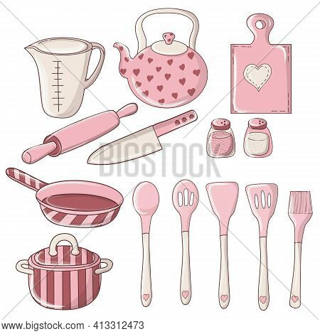 Set Of Colorful Doodle Kitchen And Utensil. Kitchenware, Cookware, Kitchen Tools. Kitchenware Collec