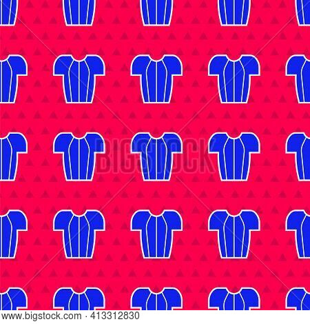 Blue Cycling T-shirt Icon Isolated Seamless Pattern On Red Background. Cycling Jersey. Bicycle Appar