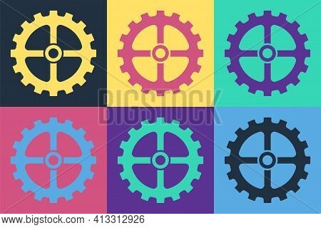 Pop Art Bicycle Sprocket Crank Icon Isolated On Color Background. Vector