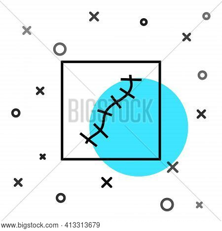 Black Line Scar With Suture Icon Isolated On White Background. Random Dynamic Shapes. Vector