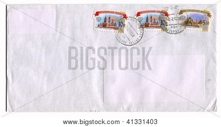 RUSSIA - CIRCA 2009: Mailing envelope with postage stamps dedicated to Russian Kremlin, circa 2009.