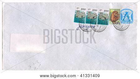 BELARUS - CIRCA 2012: Mailing envelope with postage stamps dedicated to Gomel city and Mustela lutreola, circa 2012.