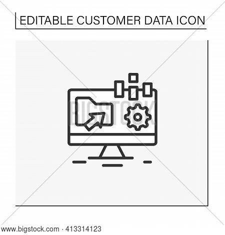 Collect Data Offline Line Icon. Apps Include Forms Are Created Online And Can Be Filled Without Inte