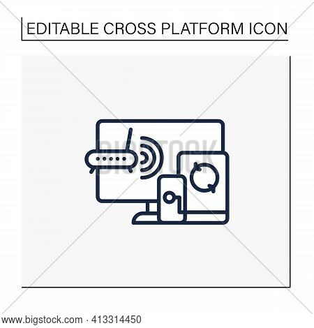 Multiplayer Line Icon. Technical Devices. Wi- Fi, Computer, Phone. Synchronically. Wireless Equipmen