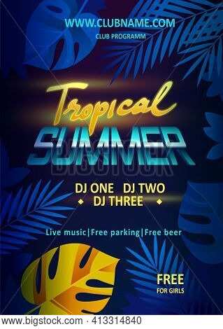 Night Party Vector Flyer Template. Tropical Summer Beach Party, Night Club Show Poster - Stock Vecto