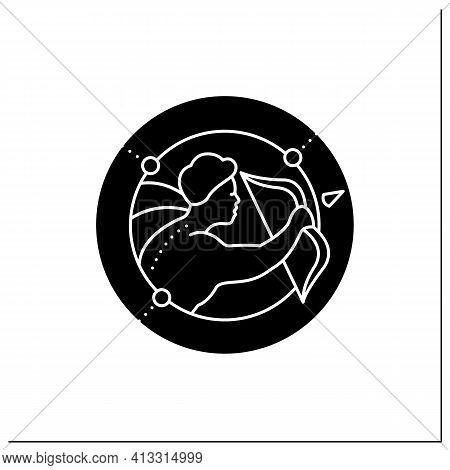 Sagittarius Glyph Icon. Ninth Fire Sign In Zodiac. Shooter Birth Symbol. Mystic Horoscope Sign. Astr