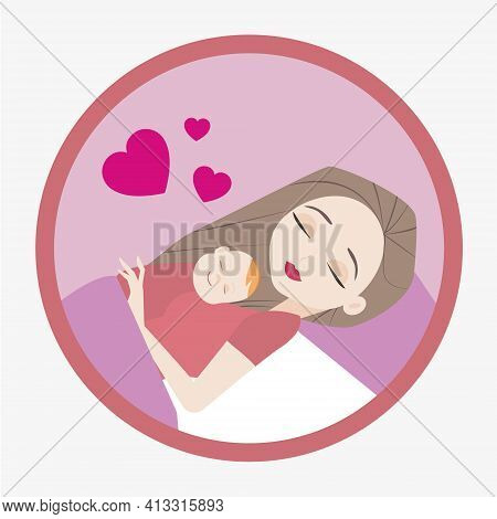 Young Woman And Baby After Childbirth, Vector Illustration