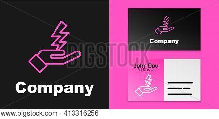 Pink Line Zeus Icon Isolated On Black Background. Greek God. God Of Lightning. Logo Design Template
