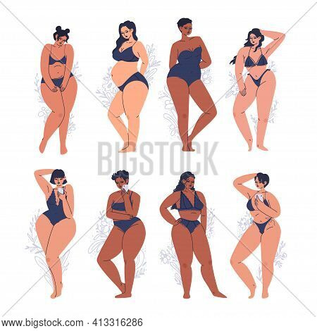Set Of Young Diverse Women In Lingerie. Women's Bodies Of Different Skin Colors On A Background Of G