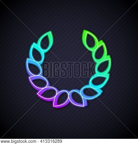 Glowing Neon Line Laurel Wreath Icon Isolated On Black Background. Triumph Symbol. Vector