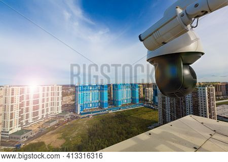 Cctv Surveillance Cameras Installed On Modern Building. Video Equipment Outdoor Safety System Area C