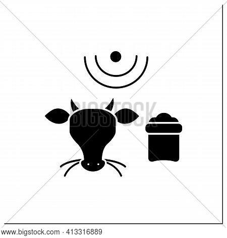 Feeding Livestock Glyph Icon.process Of Feeding Cattle. Farm Animal Eating. Grazing Cattle, Livestoc