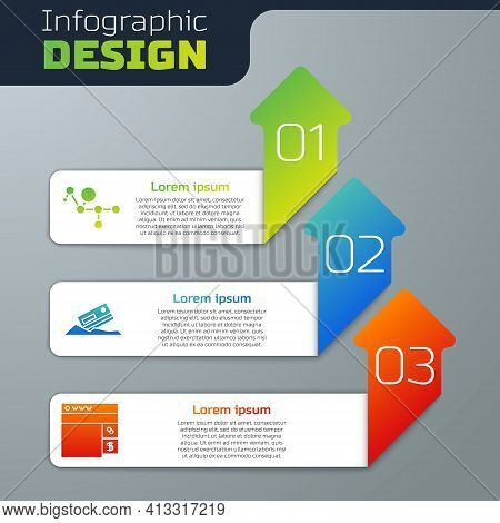 Set Cannabis Molecule, Cocaine And Credit Card And Buying Drugs Online. Business Infographic Templat