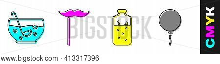 Set Mixed Punch In Bowl, Paper Mustache On Stick, Mulled Wine And Balloon With Ribbon Icon. Vector