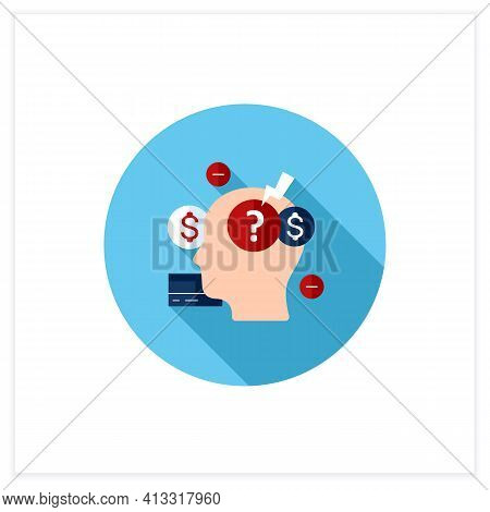 Stress Flat Icon. Stressful Situation From Money Lack. Poverty. Stressful Situation. Disappointed. M