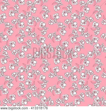 Light Floral Print Of Small Flowers With A Red Outline. Seamless Abstract Pattern On A Pink Backgrou