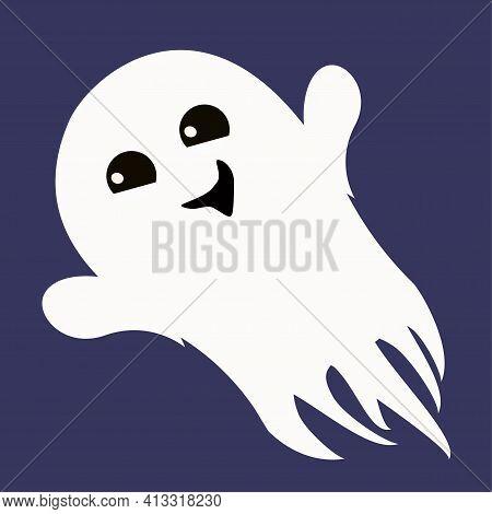Vector Illustration Of Flat Ghost Illustration For Halloween