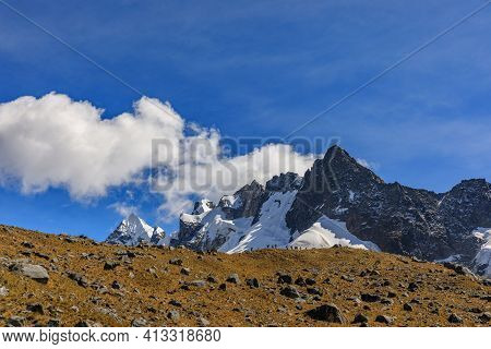 The Snowy Apu Salkantay Uncovered By The Clouds In A Sunny June Day As Viewed On The Second Day Of T