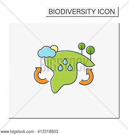 Biome Color Icon. Collection Of Plants And Animals That Have Common Characteristics For The Environm