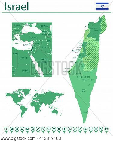 Israel Detailed Map And Flag. Israel On World Map.