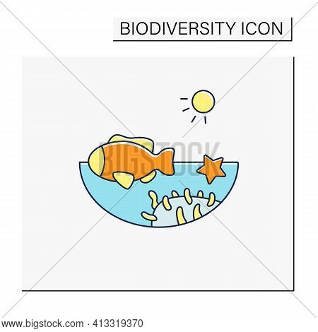 Coral Reef Color Icon. Underwater Ecosystem Characterized By Reef-building Corals. Living Place For