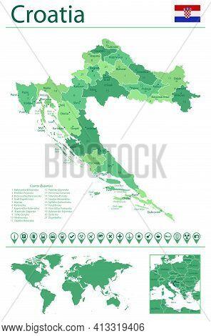 Croatia Detailed Map And Flag. Croatia On World Map.