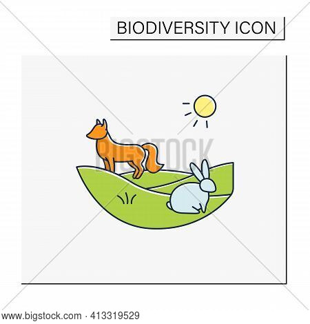 Grasslands Color Icon. Fox And Rabbit Live In Grasslands. Hunting. Generally Located Between Deserts