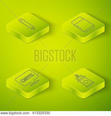 Set Isometric Eraser Or Rubber, Speech Bubble With Text Cmyk, Paint Spray Can And Pencil With Eraser