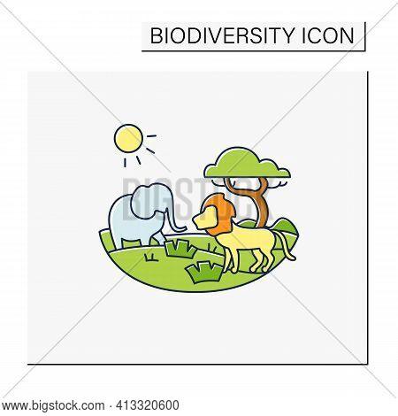 Savanna Color Icon. Living Place For Powerful Predators. Grasslands Biome. Dangerous Place. Lion, El