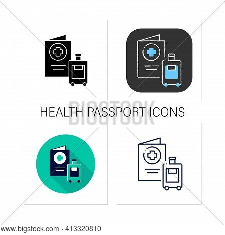 Health Passport Icons Set. Necessary Document About Health Status For Travel. Vaccinated Card.collec