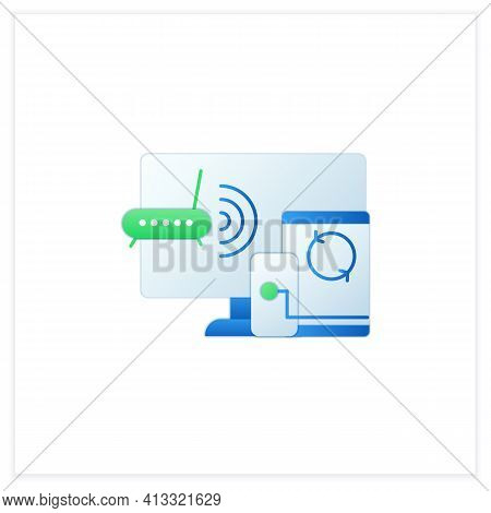 Multiplayer Flat Icon. Technical Devices. Wi- Fi, Computer, Phone. Synchronically. Wireless Equipmen