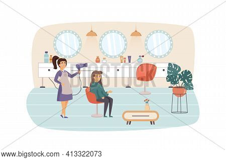 Woman Visiting Beauty Salon Scene. Hairstylist Doing Haircut And Hairstyle For Female Client. Cosmet
