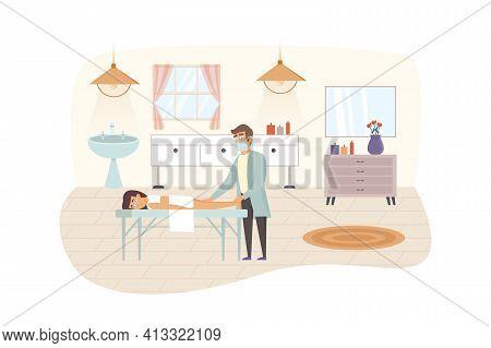 Woman Visiting Beauty Salon Scene. Female Client Getting Massage. Professional Masseur Doing Caring