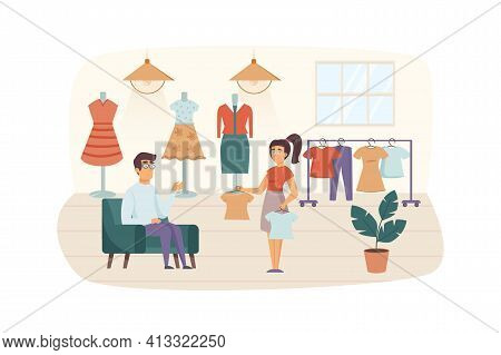 Couple Shopping In Clothing Store Scene. Man And Woman In Fitting Room Choosing Stylish Clothes. Buy