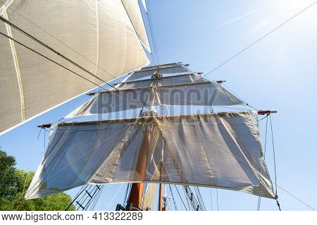 , Klaipeda, Lithuania.big Ship Meridian In Klaipeda With Sails On A Summer Day On The River.