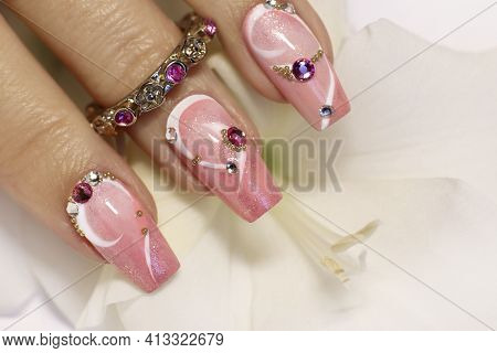 Light Pink Nail Design With White Lines, Rhinestones, Glitter With Gladiolus.
