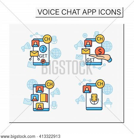 Drop In Audio App Color Icons Set. Communication Application With Friends.application Invite Buy, Sh
