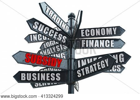 Business And Finance Concept. Business Road Sign, On One Of The Arrows The Inscription In Red - Subs